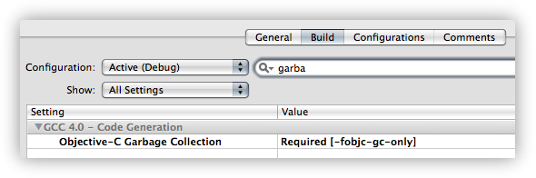 Set the project to use Garbage Collection